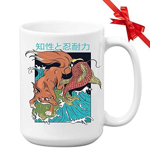 N\A Taza de café Myth de Japón - Koi Kitsune Carp Fox Folklore Mythology Yokai Japanese Ancient Animal Asia White Ceramic