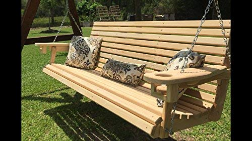 6 Ft Handmade Cypress Porch Swing with Cup Holders (66' Seat)