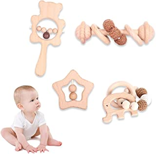 Wooden Rattle Toy for Baby-4Pcs Montessori Grasping Toy...