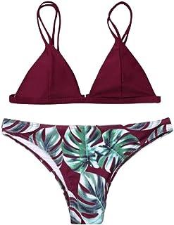 af0ea0f9f53 Fossen Bikinis Mujer 2019 Push up con Relleno - Estampado de Hojas Traje de  Baño de