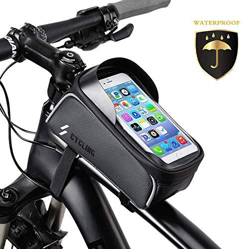 OUNDEAL Bolsa Bicicleta Manillar, Bolsa Telefono Bicicleta con Pantalla TPU Táctil, Soporte Movil Bicicleta para Teléfono Inteligente por Debajo de 6,5 Pulgadas