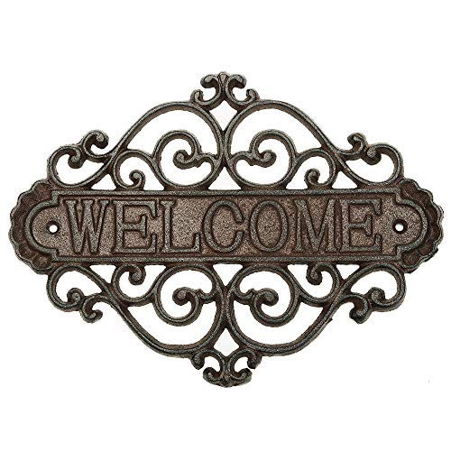 Sungmor Vintage Cast Iron Flower Shape Wall Mount Welcome Sign   Wall Decor Welcome Tag   House Plaque Garden Bar Cafe Store Gate Door Sign Wall Mount Decoration