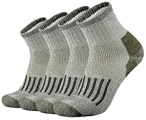 ONKE Men's Merino Wool Moisture Wicking Control Thermal Outdoor Hiking Heavy Cushion Low Cut Socks 4 Pack(Green L)