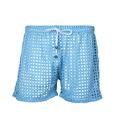 Yeahdor Netz Shorts Herren Transparent Slips Boxershorts mit Kordelzug Kurz Pants Badeshorts Erotik Unterwäsche Freizeitshorts Himmelblau M