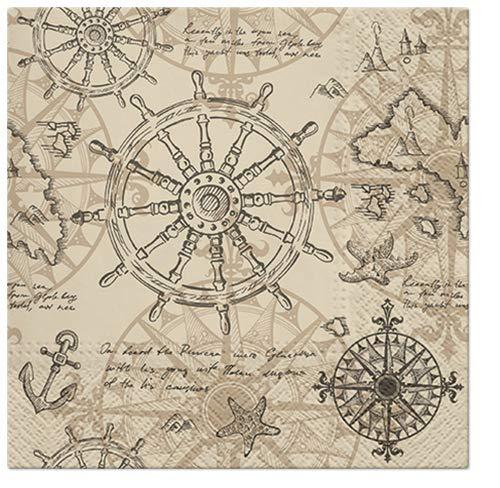 20 servilletas de cartografía como decoración de mesa o para manualidades con decoupage 33 x 33 cm