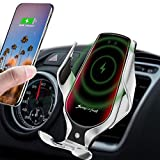 LUKKAHH R3 Wireless Car Charger Mount,Auto-Clamping Air Vent Phone Holder,10W Qi Fast Car Charging,Compatible iPhone 12/12Pro/11/11 Pro/XS Max/X/8/8+, Samsung Note9/Note10/S9+/S10+(Silver)