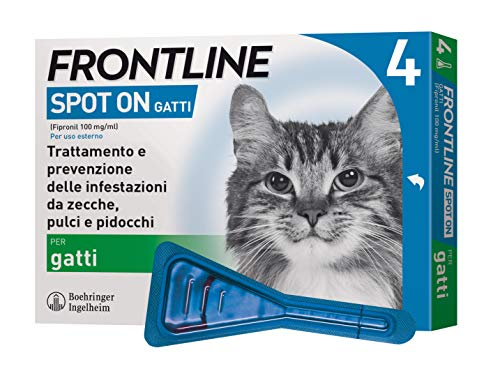 Frontline Spot On, 4 Pipette, Gatto, Antiparassitario...
