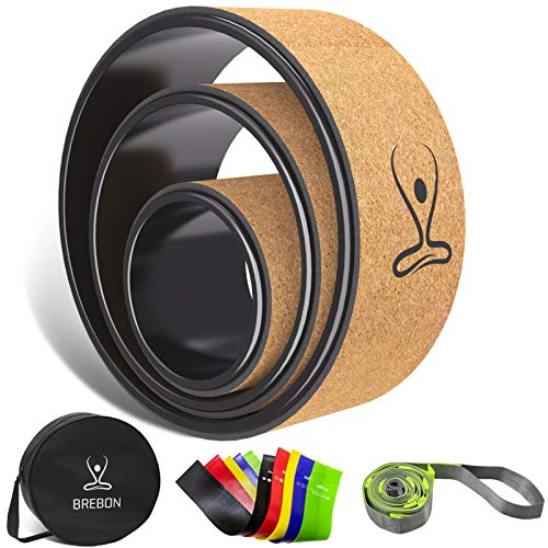 Brebon Yoga Wheel Set,Back Roller,Chirp Wheel 3 Pack for Muscle Relaxation,Back Pain Relief,Stretching, Improving Yoga Poses & Backbend,with Strap, Resistance Bands and Yoga Wheel Bag(13,10,6inch)
