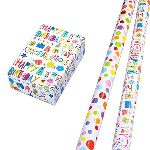 Geschenkpapier Set 2 Rollen (75 x 150 cm), Glitzer-Schrift Geschenkpapier, Punkte-Design hochwertig mit Glitter veredelt. Für Geburtstag, Kinder. Motiv Ballero und Happy Birthday edel und hochwertig