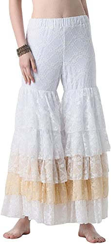 DRESSS Pantalon de Danse du Ventre Adulte Femme Pantalon de Couture en Dentelle Acrobaties Perforhommece (Couleur   blanc, Taille   M)