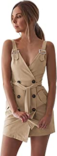 Sexy Dresses for Women,Women Deep V Wrap Ruched Sleeveless Nightclub Mini Dress with Pocket