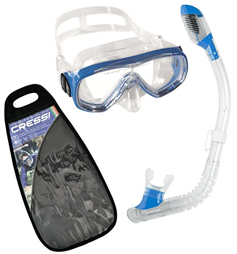 Cressi Tauchset Schnorchelset Ondina 100% Dry (Made in Italy) Kit de Snorkeling con máscara y Tubo, Unisex, Azul