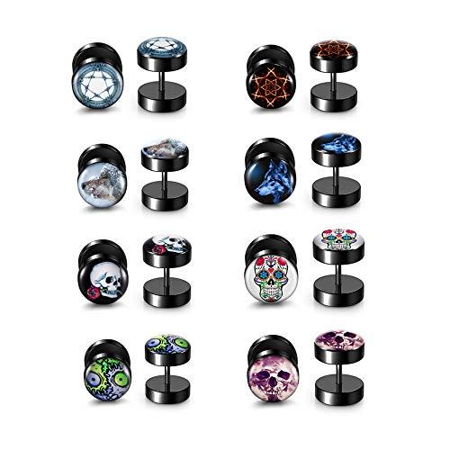 PiercingJak Juego de 8 pares de pendientes falsos dilatadores de acero inoxidable, diseño de estrellas, lobo, calavera, flor, falso, cheater, ilusión, túnel, punk, joyas para unisex, color negro
