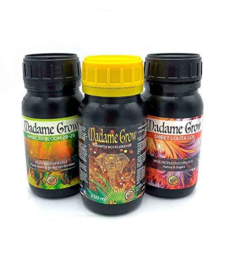 MADAME GROW / Kit Growth Basic/Nutre a Tus Plantas Durante Todo su Ciclo sin Grandes complicaciones/Productos básicos para una Cosecha excelente (3 x 250 ml)