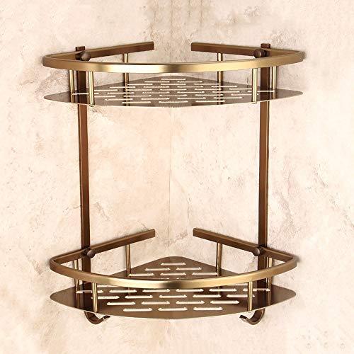 Hvauty Europäische Antike Bronze Bad Regal Robustes Aluminium 2 Ebenen Duschregal mit 2 Haken...