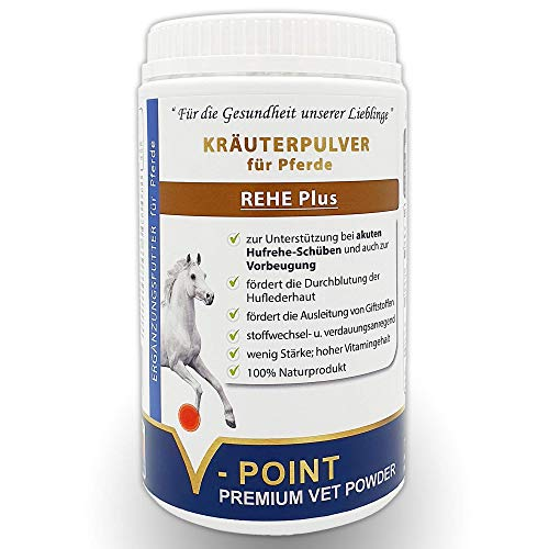 V-POINT REHE Plus - for acute laminitis relapses and for prevention, promotes blood circulation in the horseshoe skin, premium herbal powder for horses, with spirulina algae and rose hips