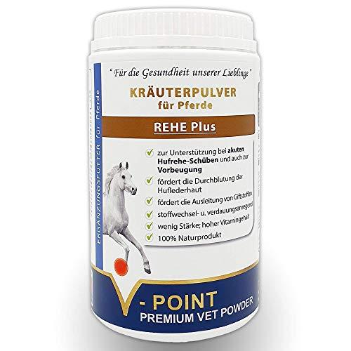V-POINT REHE Plus bei akuten Hufrehe-Schüben und zur Vorbeugung - fördert Durchblutung der Huflederhaut - Premium Kräuterpulver für Pferde mit Hagebuttenpulver Mariendistel Spirulina (500 g)