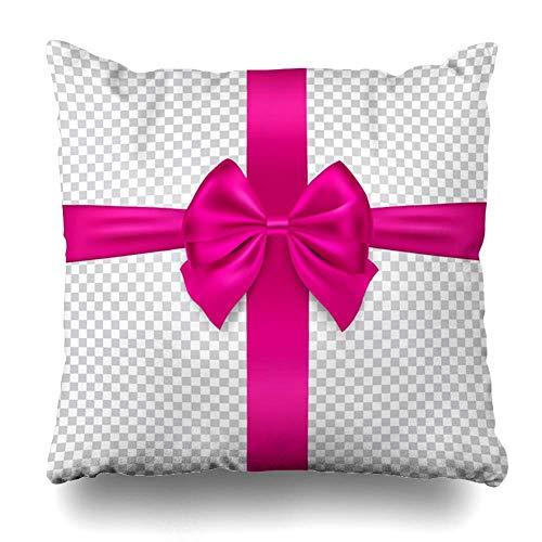 Mengghy Funda de almohada con lazo para aniversario, cumpleaños, celebración, Navidad, festividad, diseño brillante, 45 x 45 cm, funda de almohada con cremallera