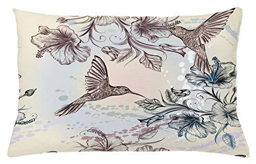 ABAKUHAUS Kolibrie Sierkussensloop, Vogels Bloemen van de Hibiscus, Decoratieve Vierkante Hoes voor Accent Kussen, 65 cm x 40 cm, teal Brown