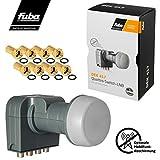 Fuba Quad LNB LNC 4 Teilnehmer Direkt (Quattro Switch) DEK 417 ■ LTE- & Mobilfunkabschirmung ■ Wetterschutz (ausziehbar) ■ Full HD 4K ■ 8 Vergoldete F-Stecker von HB-DIGITAL -