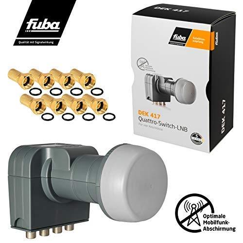 Fuba Quad LNB LNC 4 Teilnehmer Direkt (Quattro Switch) DEK 417 ■ LTE- & Mobilfunkabschirmung ■ Wetterschutz (ausziehbar) ■ Full HD 4K ■ 8 Vergoldete F-Stecker von HB-DIGITAL