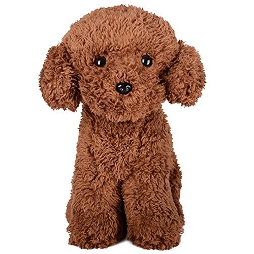 WEIGEDU Teddy Poodle Dog Puppy Plush Stuffed Animals, Poodle Puppy Dog Stuffed Toy Plush Toys for Kids Children Babies,11.8 Inches Brown