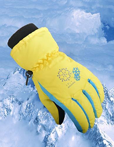 Zerobox Winterhandschuhe für Kinder, wasserdicht, warm, bunt, Snowboardhandschuhe für Jungen und Mädchen, gelb, M