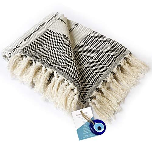 "Boho Throw Blanket Decorative Light Weight 100% Cotton  40""x71""  for Bed Chair Couch Sofa Outdoor Farmhouse Rustic Decor Turkish Throw + Evil Eye Beach Bath Spa Yoga Picnic (Black White)"