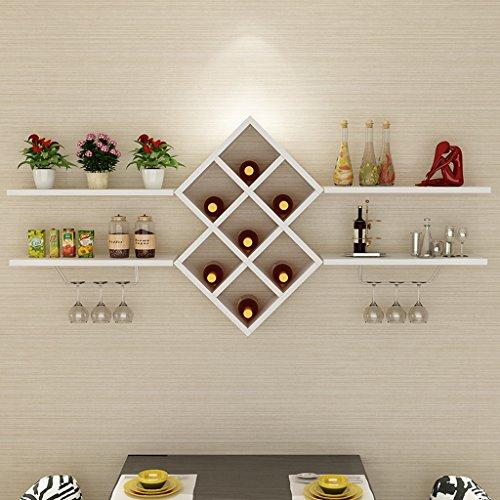 LPZ Schwebendes Regal Wand-Weinregal Massivholz-Trennwand Aufbewahrungsbuch Weingläser Moderne Einfachheit (Farbe : Weiß, größe : 120x73cm)