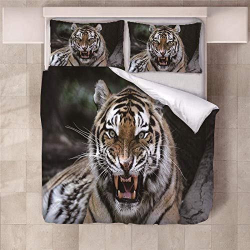 empty 3 Pieces Bedding 3D Animal Tiger Pattern Printed 220x240cm Zipper Closure Duvet Cover with 2x50x75cm pillow case Soft Microfiber Quilt Cover Set for Child adult