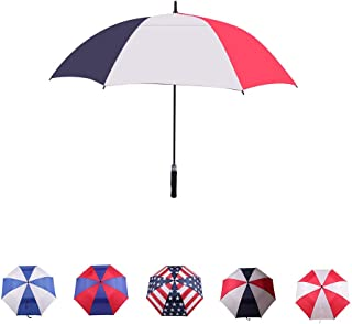 LLanxiry Umbrella,62 Inch Automatic Open Golf Umbrella Extra Large Oversize Double Canopy Vented Big Handle Straight Anti-UV Windproof Waterproof Stick Long Strong Rain Umbrellas for Men and Women