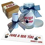Caja'Noticia Bomba'con mensaje personalizado para dar noticias especiales. Anuncio embarazo. Mensaje en tarro.