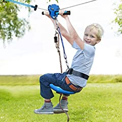 Cable tension kits for easier installation. Trolley (detachable) can be fitted at any part of the cable. Spring brake + adjustable safety belt & strap + seat with rope + non-slip handlebar for maximum security. Suitable for kids 8+, Max weight 250LBS...