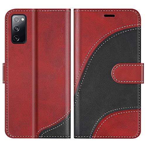 BoxTii Hülle für Galaxy S20 FE/Galaxy S20 Lite, Leder Handyhülle für Samsung Galaxy S20 FE/Galaxy S20 Lite, Ledertasche Klapphülle Schutzhülle mit Kartenfächer & Magnetverschluss, Rot