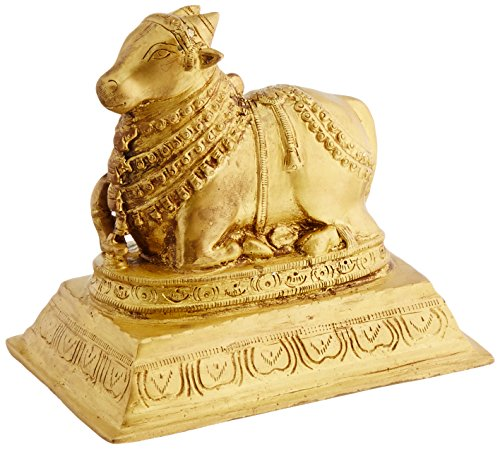 Exotic India Nandi The Vehicle of Lord Shiva Statue, Gold, 10,9 x 16,3 x 15,2 cm