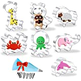 Stainless Steel Animal Cookie Cutters for Kids, Dolphin Crab Octopus Raccoon Sheep Elephant Giraffe Cutter Molds for Making Muffins, Cakes, Biscuits, Fondant, Pancake,Sandwiches - 7Pieces