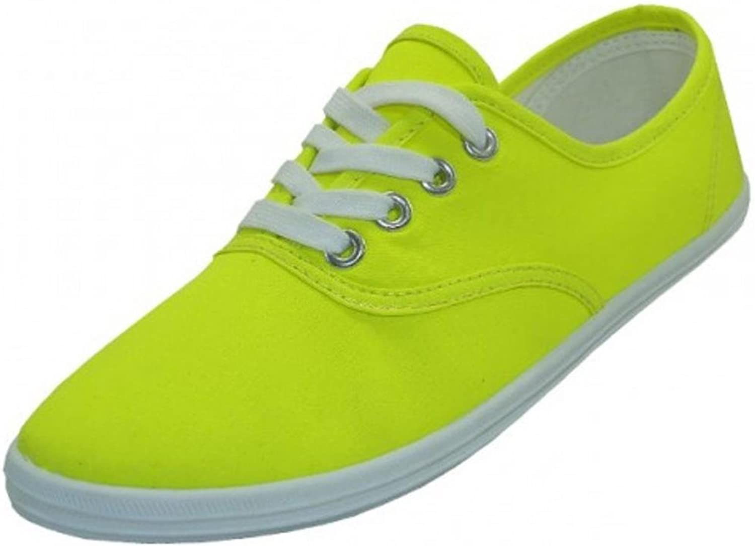 EasySteps Women's Canvas Lace Up shoes with Padded Insole, Neon Yellow, US Women's 10 B(M) US