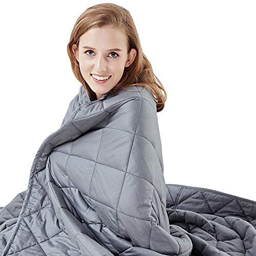 Hypnoser Weighted Blanket 15 lbs for adult ( 60'x80' , Fit Queen Size Bed ) | 2.0 Diamond Weight Pocket | 100% Cotton Material with Glass Beads