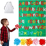WATINC 122Pcs Alphabet Felt Flannel Board Kit for Kids Reusable Upper Lower Case Letter Numbers Math Symbols Giant Wall Hanging Preschool Educational Toy Christmas Birthday Gift for Boys Girls