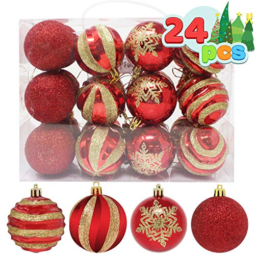 "Joiedomi 24 Pcs Christmas Ball Ornaments, Deluxe Shatterproof Christmas Ornaments for Holidays, Party Decoration, Tree Ornaments, and Special Events (Red&Gold, 2.36"")"