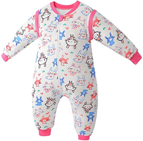 Chilsuessy Baby ganzjahres Schlafsack aus soft Baumwolle 2 Tog Schlafsäcke mit abnehmbaren Ärmeln und Füßen für Säugling Kleinkind Kinder Schlafsack mit Beinen, Rosa Hase, 70/Baby Höhe 80-90cm
