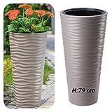 Vaso sottile rotondo effetto 3D – Onde – Colore: tortora con inserto estraibile, 40 x 79 cm, extra alto