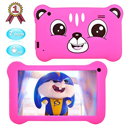 Kids Tablet 7 inch Android 9.0 Kids Edition Tablet with WiFi,GMS Certified,Dual Camera Children Tablet 2GB+16GB, Parental Control, Kids Software Pre-Installed with Kids-Proof Case.