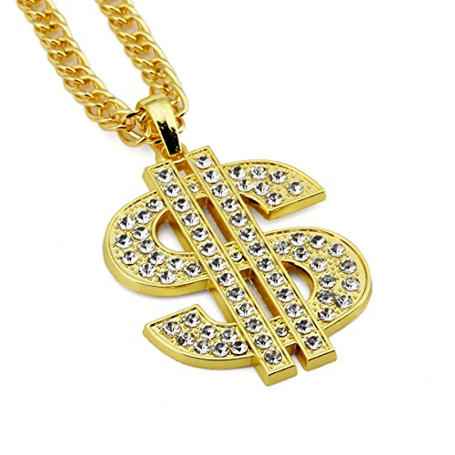 Ahier Gold Necklace Chain with Dollar Sign, 18K Gold Plated Hip Hop Chain Necklace Pendant for Men, 30inch (Dollar A)