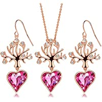 CDE Tree of Life Pink Heart Crystals Women Jewelry Set