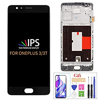 Compatible with Oneplus 3/3T A300 A3003 LCD Display Screen Replacement,for 1+3/3T A3000 A3003 Oneplus Three Display LCD Panel Repair Parts Kit,with Tempered Glass+Tools with Frame