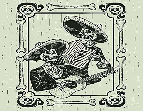 HASENCIV Pintura de Diamante DIY para Adultos Banda de mariachis de dos calaveras en el pasamontañas del día de los muertos Bricolaje Diamond Painting 40x50cm Rhinestone Bordado de Punto de