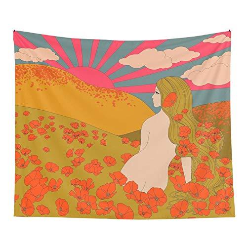 Tapiz estético colgante de pared rosa decoración de la pared del hogar tapiz decoración sala de estar dormitorio bohemio INS impresión 150x100cm