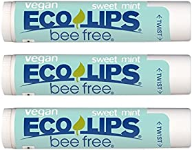 Vegan Lip Balm Sweet Mint by Eco Lips Flavor 3 Pack Natural Bee Free with Candelilla Wax, Organic Cocoa Butter, Coconut Oil Lip Care. Soothe & Moisturize Dry, Cracked and Chapped Lips - Made in USA.