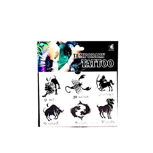 *Tattoos mit 6 großen Sternzeichen, Löwe, Skorpion, Schütze, Widder, Fische und Stier 01-00161